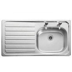 Supporting image for Stainless Steel Sink & Drainer with Hot & Cold Pillar Taps