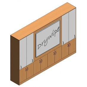 Supporting image for Workshape Flush-front ilearn Teacher Wall with Sliding Dry-wipe Doors - L3200mm