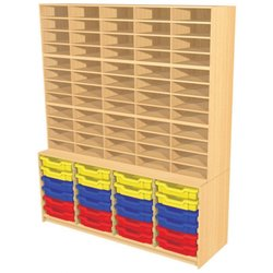 Supporting image for 60 Pigeon Hole Storage Unit with 24 Trays