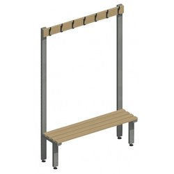 Supporting image for Workshape Freestanding Changing Room Benching with Coat Hooks