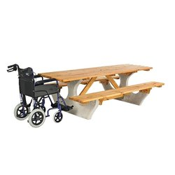 Supporting image for Cotswold Concrete & Wood Picnic Table - Wheelchair Access
