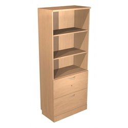 Supporting image for Alpine Essentials Combo 3 Shelf Bookcase & 2 Drawer Sidefiler - W800