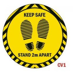 Supporting image for 'Keep Safe 2M Apart' Round Vinyl Laminated Floor Sticker