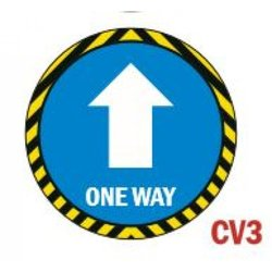 Supporting image for TOP SELLER 'One Way' Round Vinyl Laminated Floor Sticker