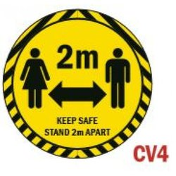 Supporting image for 'Social Distancing 2m' Round Vinyl Laminated Floor Sticker