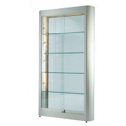 Supporting image for Illuminated Wide tower unit with sliding doors: Satin Silver