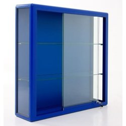 Supporting image for Illuminated Wall cabinet with sliding doors: Blue frame