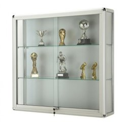 Supporting image for Illuminated Wall cabinet with sliding doors : Satin Silver