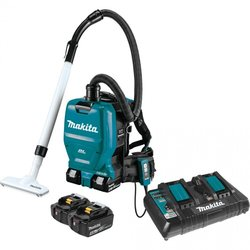 Supporting image for MAKITA BACK PACK VAC WITH TWO BATTERIES & TWIN CHARGER