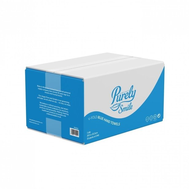 Supporting image for Hand Towels V Fold 1ply Blue x 3600