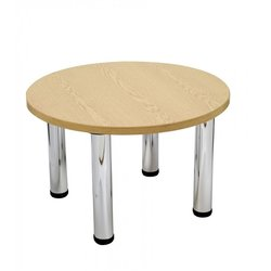 Supporting image for Circular Oak Top Coffee Table - Chrome Legs - D650