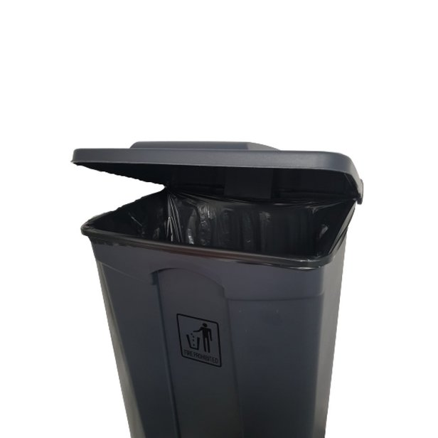 Supporting image for Heavy Duty Pedal Operated Black Bin - 90 Litre - image #2